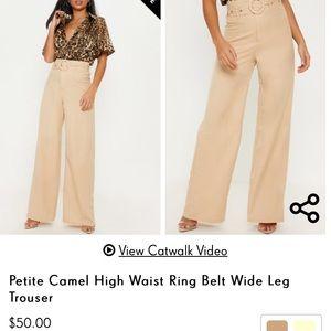 Petite Camel High Waist Ring Belt Wide Leg Trouser